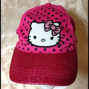 HELLO KITTY Pink Glitter Baseball Cap